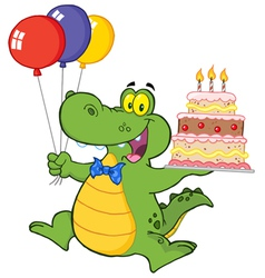 Birthday Alligator With Balloons And Cake vector image