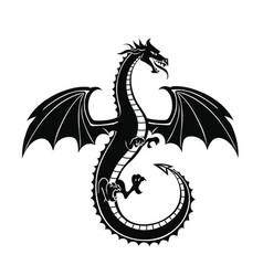 Black silhouette dragon vector