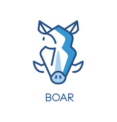 Boar logo design blue label badge or emblem with vector