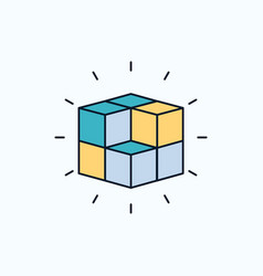Box labyrinth puzzle solution cube flat icon vector