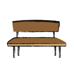 Brown wooden bench seat chair old vector