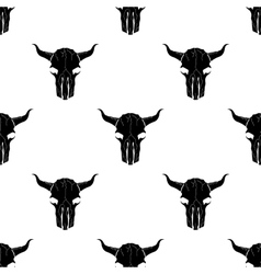 Bull Skull Silhouette Seamless Pattern vector image vector image