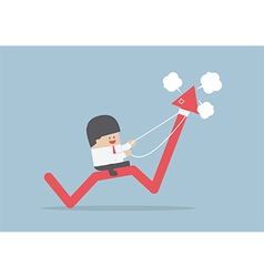 Businessman riding on angry stock market graph vector