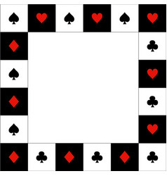 Card suits red black white chess board border vector