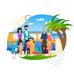 cartoon family meeting at beach summer vacation vector image