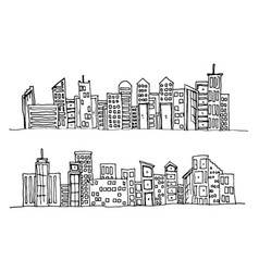 Cartoon hand drawing city on white background vector