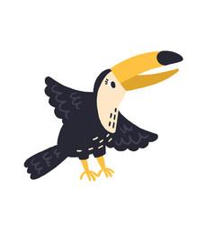 cartoon hand drawn tucan waving wings flat vector image