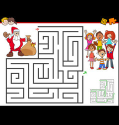 cartoon maze activity with santa claus vector image