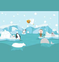cartoon north pole arctic landscape vector image
