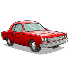 cartoon red american retro muscle car icon vector image