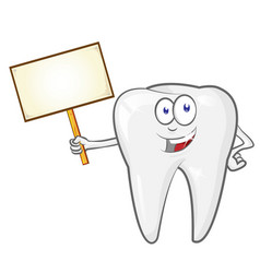 cartoon tooth with signboard clip art vector image