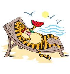 Cat vacationist sea vector image