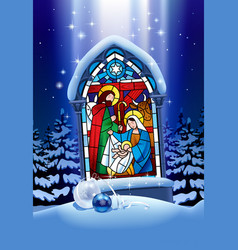 Christmas stained glass window in winter forest vector