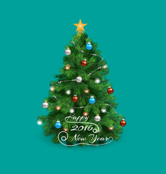 christmas tree happy 2016 new year with shadow vector image