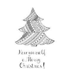 Christmas tree with pattern and handwritten wishes vector