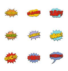 Cinema banner icons set cartoon style vector