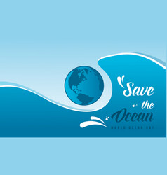 Collection stock world ocean day background style vector