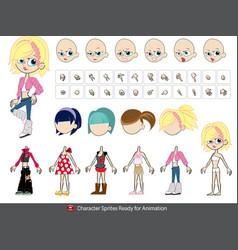 Crazy talk animator girl vector