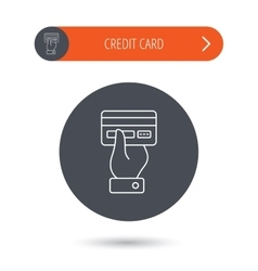 Credit card icon Giving hand sign vector image