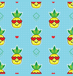 cute pineapples with heart glasses pattern on blue vector image
