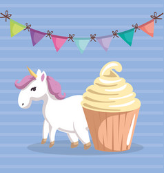 Cute unicorn with cupcake kawaii character vector