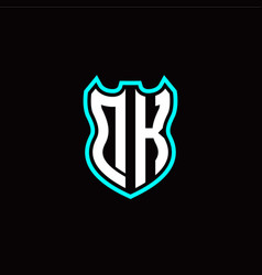 d k initial logo design with shield shape vector image