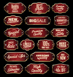 Dark red and gold premium quality labels vector