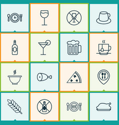 eating icons set with no drinking alcohol vector image