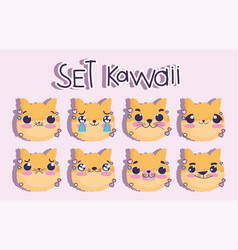 emojis kawaii cartoon faces cat cute animal vector image