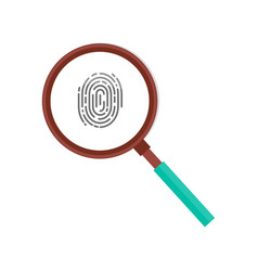 fingerprint magnifying glass icon isolated vector image