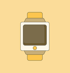 Flat on background digital watch vector