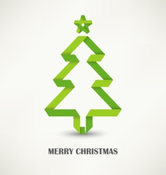 Folded paper Christmas green tree vector