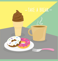 food meal take a break dairy eat drink menu vector image