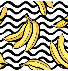 Fruit wave seamless pattern with banana food vector