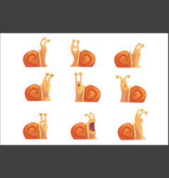 funny cartoon snails showing different emotions vector image