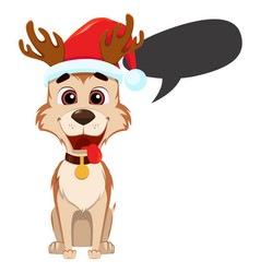 Funny dog wearing santa claus hat and with empty vector
