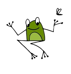Funny frog sketch for your design vector