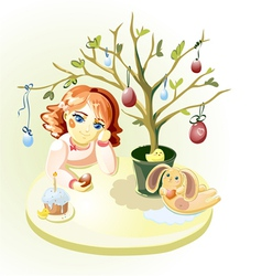 Girl under Easter Tree vector image