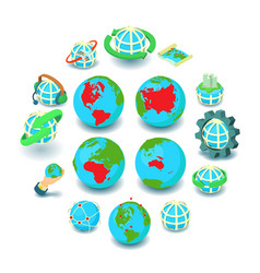 globalization icons set cartoon style vector image