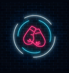 Glowing neon boxing club sign in circle frame on vector