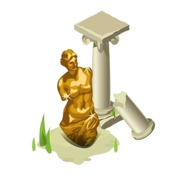 Greek gold statue and ruined column vector