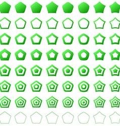 Green pentagon shape polygon icon set vector image