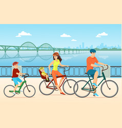Happy family cycling flat vector