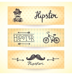 Hipster banners set vector image