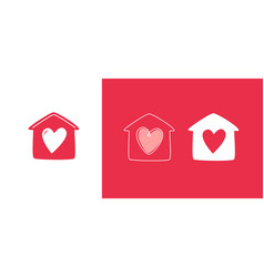 home with heart logo business icon or symbol vector image