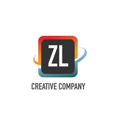 initial letter zl swoosh creative design logo vector image