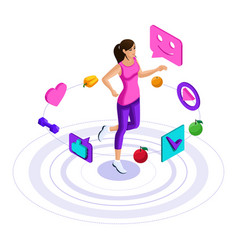 isometry girl icons of a healthy lifestyle vector image