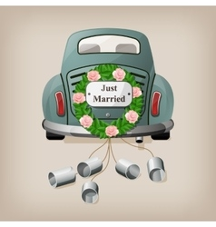 Just married on car wedding car vector