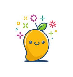 kawaii smiling mango emoticon cartoon vector image