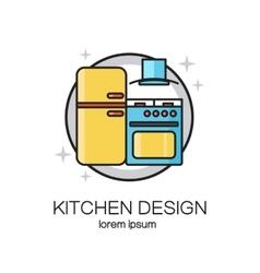 Kitchen design line logo vector